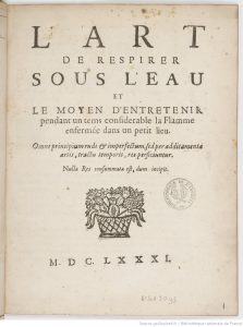 Cover of the 1681 book fom Jean de Hautefeuille, L'art de respirer sous l'eau