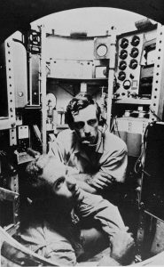 Photo of Jacques Piccard and Lieutenant Don Walsh in the bathyscaphe Trieste in 1960 for Challenger Deep exploration