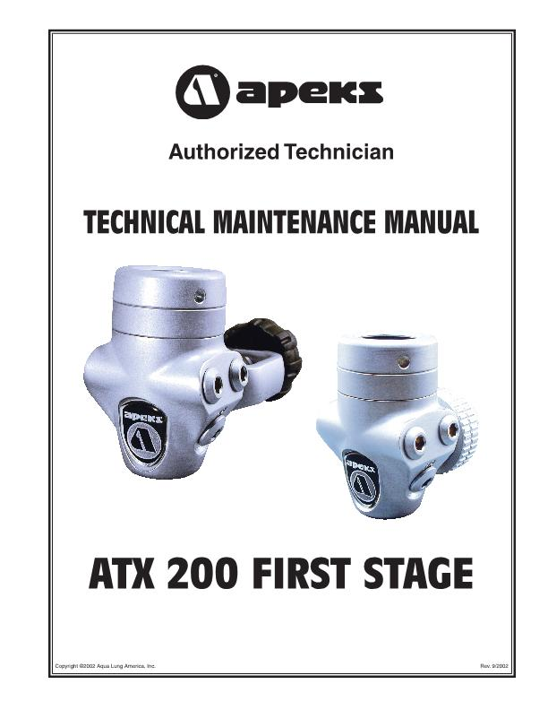 Apeks – ATX200 – First Stage Regulator – Maintenance Manual – 2002 – EN