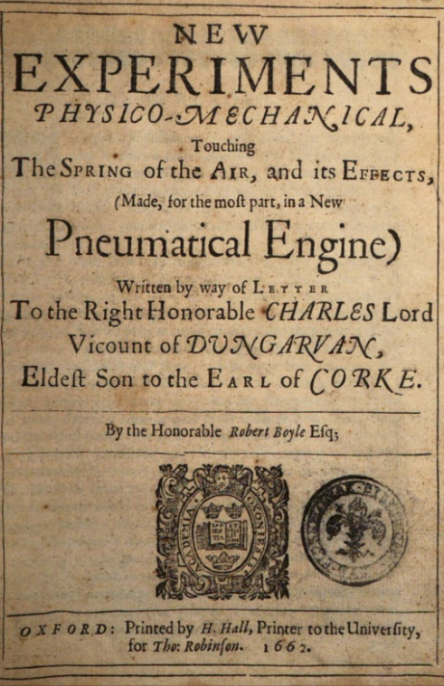Robert Boyle publish his law of ideal gas
