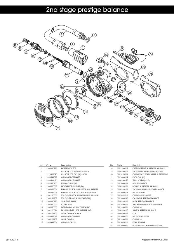 Apollo – Prestige Balance – Second Stage Regulator – Schematic – 2011 – EN