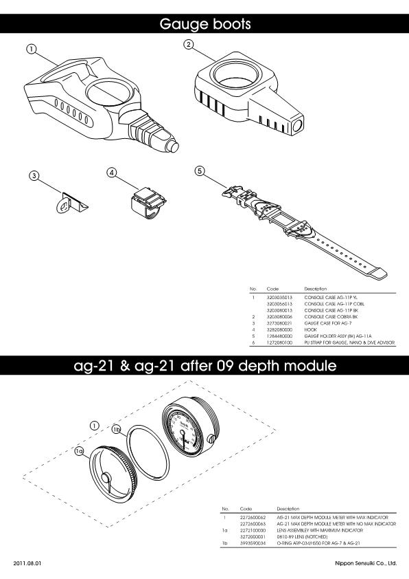 Apollo – Gauge boots, ag-21 & ag-21 After 09 Depth Module – Instruments – Schematic – 2011 – EN