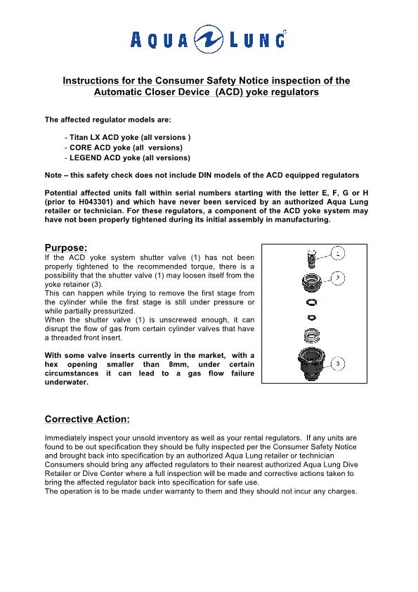 Aqualung – ACD Inspection Procedure – Other – Instructions Manual – 2017 – EN