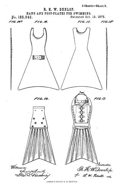 The first flexible fins patented by R. H. W. Dunlop