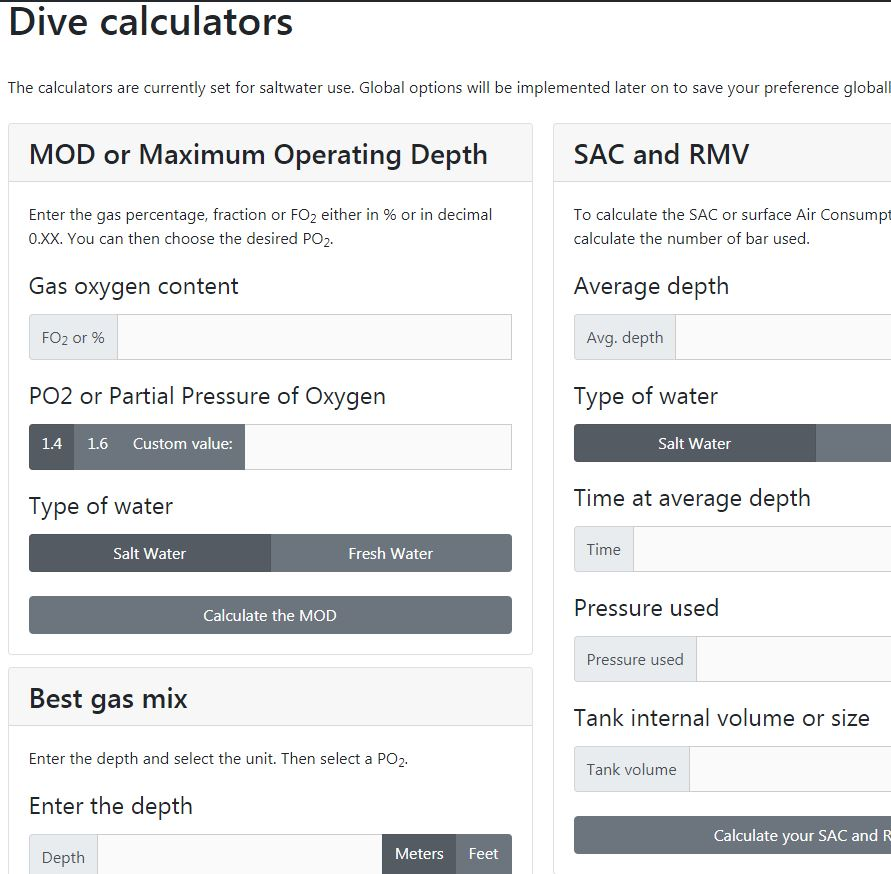 Screenshot of Dive Calculator page
