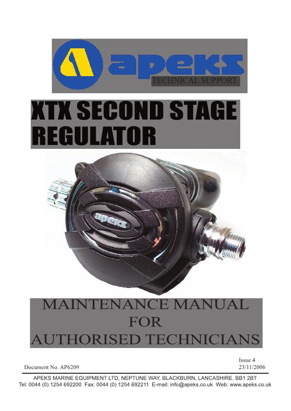 Apeks – XTX – Second Stage Regulator – Maintenance Manual – 2006 – EN